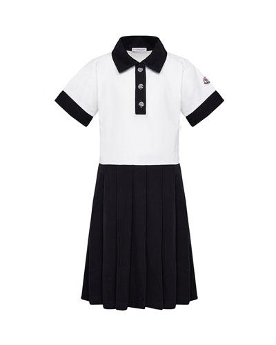 Girl's Two-Tone Piquet Polo Dress  Size 8-14
