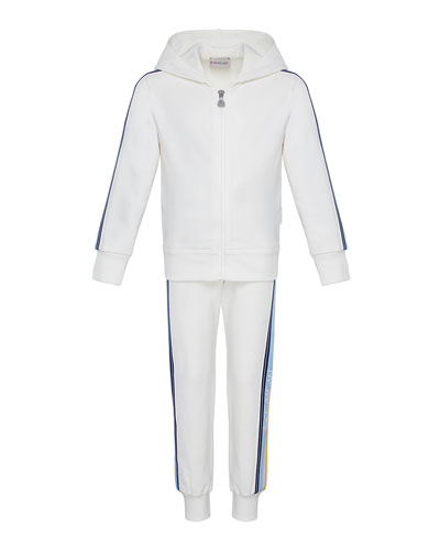 Girl's Logo Tape Hooded Zip-Front Track Jacket w/ Matching Joggers  Size 4-6