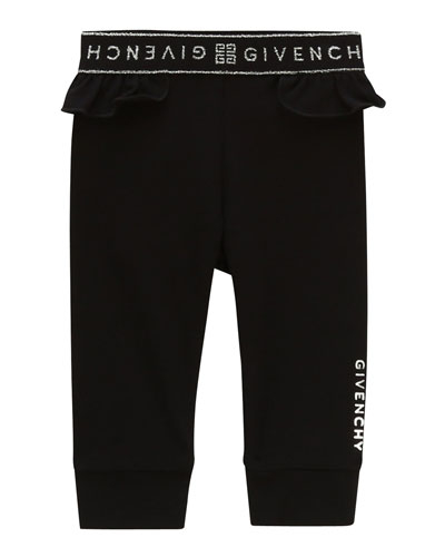 Girl's Ruffle-Trim Logo Pants  Size 2-3