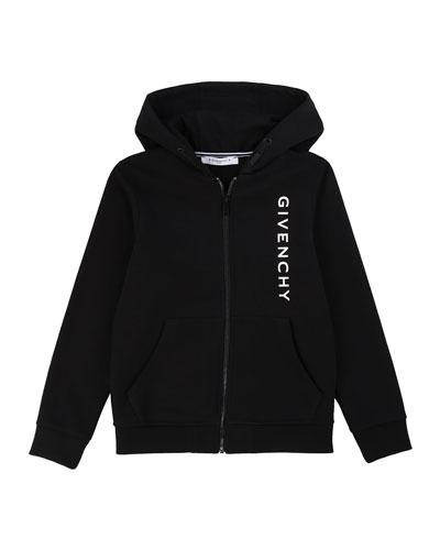 Boy's Vertical Logo Mini Me Zip-Up Hooded Jacket  Size 4