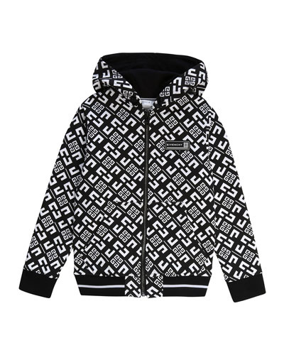Boy's 4-G Print Mini Me Hooded Zip-Front Cardigan  Size 4