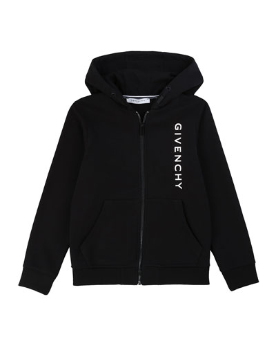 Boy's Vertical Logo Mini Me Zip-Up Hooded Jacket  Size 12-14
