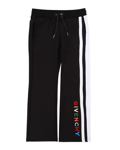 Girl's Multicolor Logo Text Side-Stripe Pants  Size 4