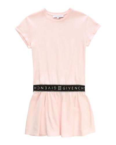 Short-Sleeve Dress with Logo Details  Size 4