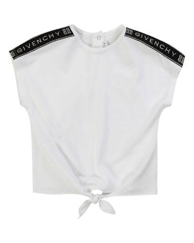Girl's Logo Shoulder Tie-Front Tee  Size 2-3