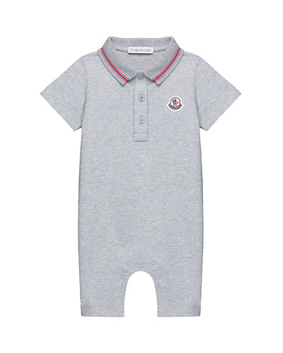 Piquet Stretch Polo Romper, Size 3-24 Months