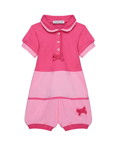Two-Tone Piquet Stretch Bubble Romper  Size 12M-3