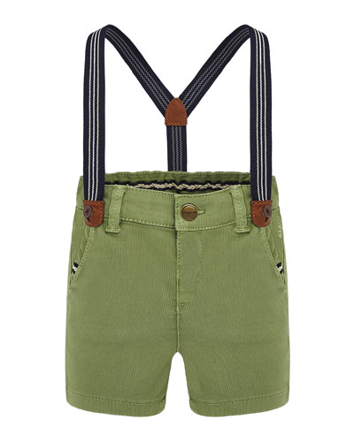 Boy's Canvas Shorts w/ Removable Suspenders  Size 6-36 Months