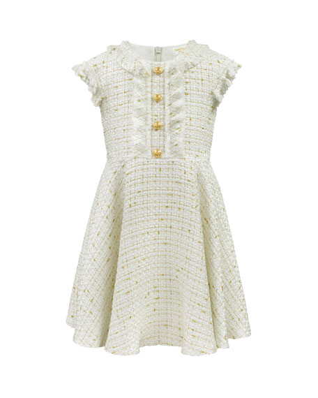 Girl's Ruffle Cap-Sleeve Tweed Dress, Size 4-8
