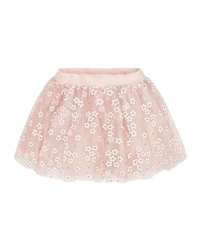 Girl's Tulle Flower Skirt  Size 4-7