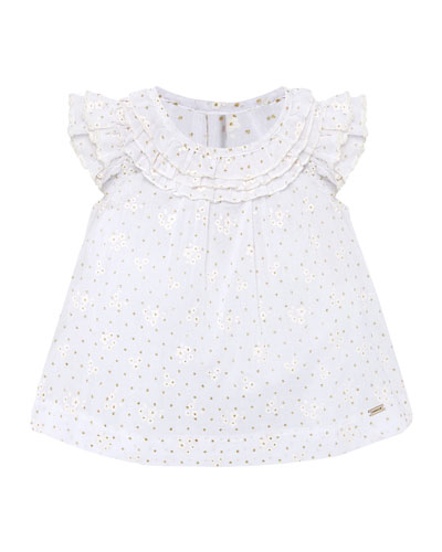 Girl's Floral Print Voile Ruffled Blouse  Size 6-36 Months
