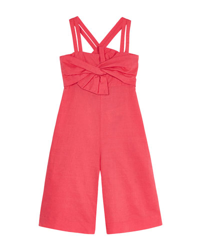 Girl's Knot Front Solid Jumpsuit  Size 4-7