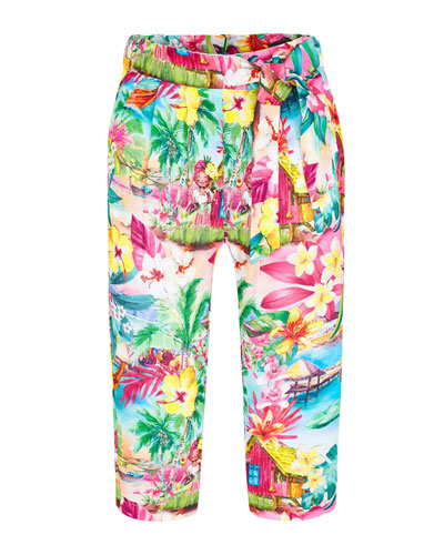 Girl's Tropical Print Pants  Size 4-7