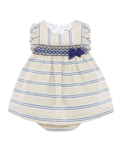 Girl's Smock Inset Stripe Dress w/ Matching Bloomers  Size 4-18 Months
