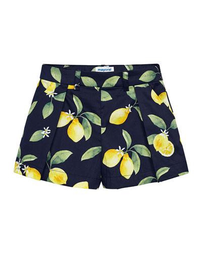 Girl's Lemon Print Shorts w/ Belt  Size 4-7