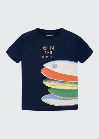 Boy's On the Wave Surfboard Graphic T-Shirt  Size 4-7