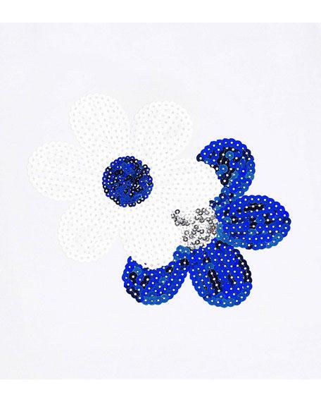 Girl's Sequin Flower Tee w/ Eyelet Skirt, Size 4-7