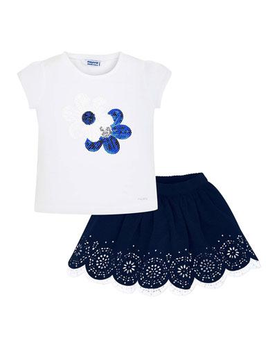 Girl's Sequin Flower Tee w/ Eyelet Skirt  Size 4-7