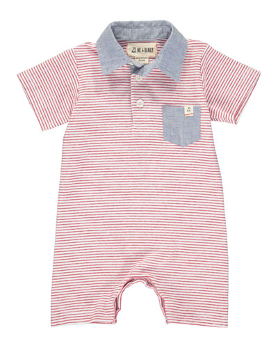 Boy's Striped Polo Shortall w/ Children's Book, Size 0-24 Months