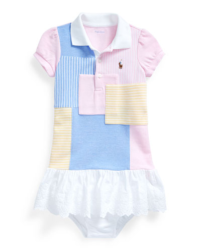 Oxford Mesh Patchwork Dress w/ Bloomers, Size 6-24 Months