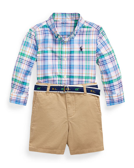 Image 1 of 1: Poplin Plaid Button-Down Shirt w/ Tissue Chino Shorts & Logo Belt, Size 9-24 Months