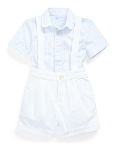 Boy's Striped Poplin Short Overall Set  Size 9-24 Months