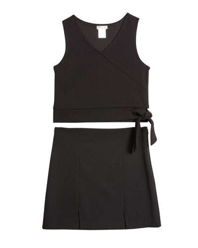 Girl's Mock-Wrap Top w/ Double Slit Skirt Set  Size S-XL