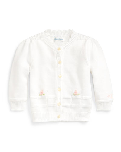 Combed Cotton Floral Embroidery Sweater Cardigan, Size 6-24 Months