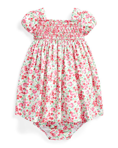 Floral Printed Poplin Smocked Dress w/ Bloomers, Size 6-24 Months