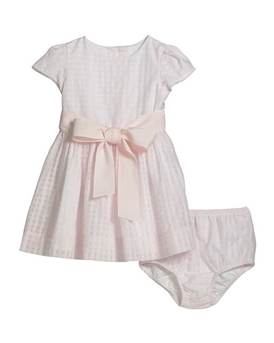 Girl's Windowpane Check Dress w/ Bloomers, Size 6-24 Months