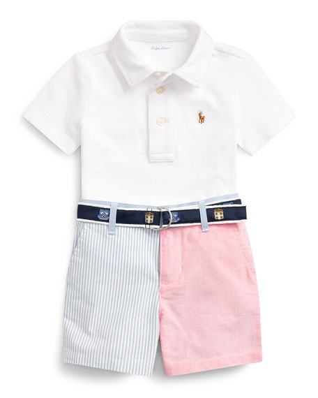 Mesh Knit Short-Sleeve Polo w/ Patchwork Shorts & Logo Belt, Size 6-24 Months