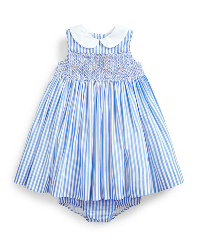 Poplin Bengal Stripe Smocked Dress w/ Matching Bloomers, Size 6-24 Months