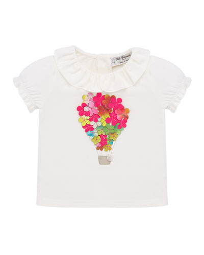 Girl's 3D Floral Hot Air Balloon Blouse  Size 2-6