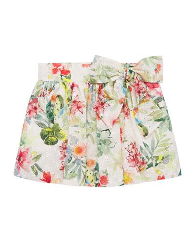 Girl's Floral Print Mini Eyelet Skirt  Size 4-10