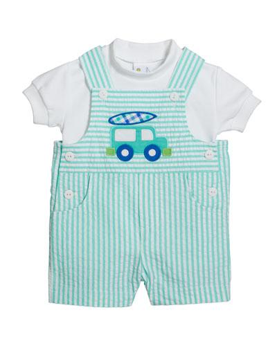 Cotton T-Shirt w/ Van Seersucker Shortall  Size 3-24 Months