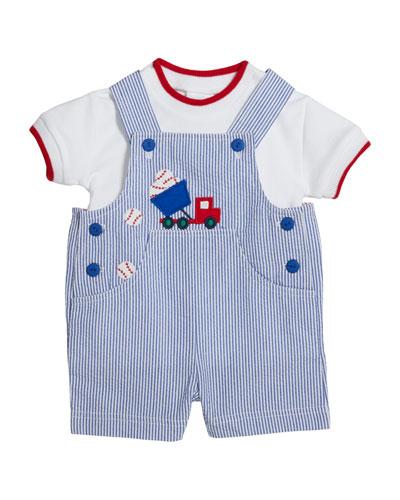 Cotton T-Shirt w/ Baseball Seersucker Shortall  Size 3-24 Months