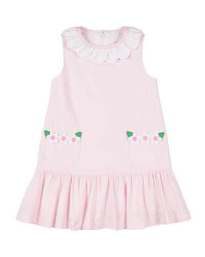 Girl's Tiny Check Dress w/ Flowers  Size 2-6X