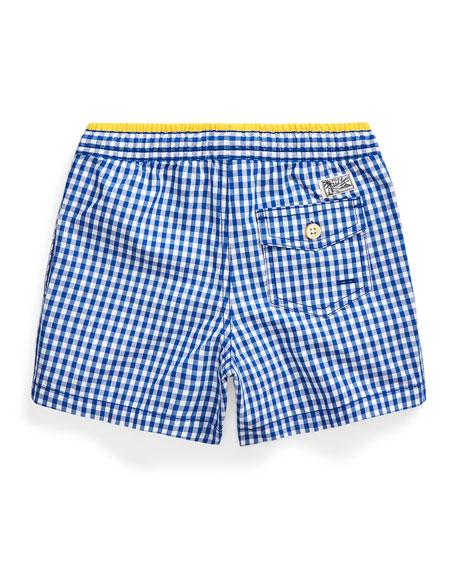 Boy's Traveler Gingham Swim Trunks, Size 2-4