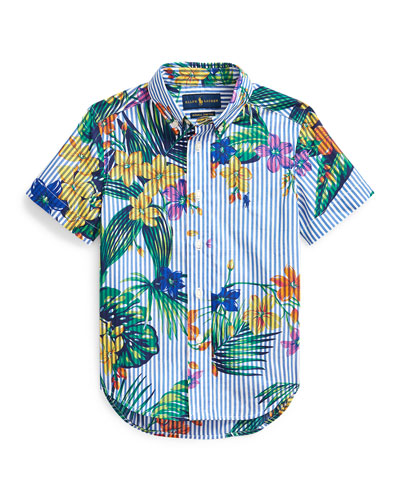 Boy's Floral Stretch Poplin Button-Down Shirt, Size 5-7
