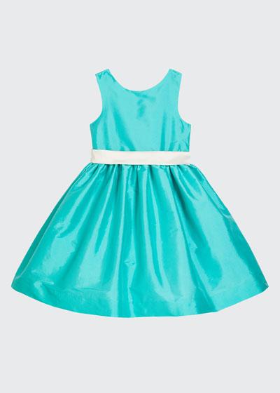 Girl's Sleeveless Taffeta Dress w/ Sash  Size 12M-3