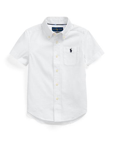 Boy's Stretch Oxford Button-Down Shirt, Size 5-7