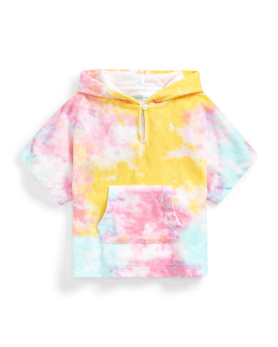 Girl's Tie-Dye Printed Terry Towel Hooded Coverup  Size 9-24 Months