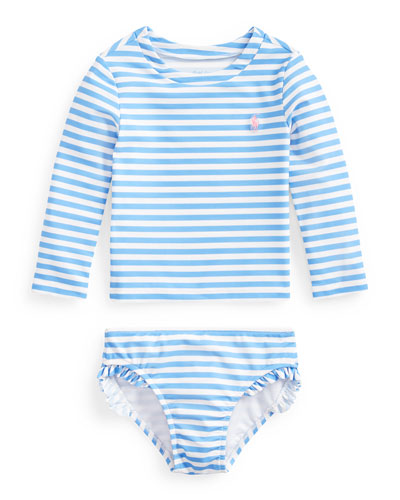 Girl's Striped Two-Piece Rash Guard Swimsuit  Size 9-24 Months