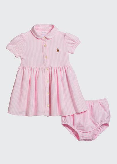 Yarn-Dyed Oxford Mesh Stripe Dress w/ Matching Bloomers  Size 6-24 Months