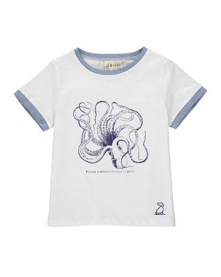 Boy's Octopus Graphic T-Shirt w/ Children's Book. Size 3T-7