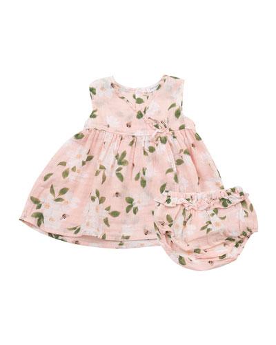 Girl's Magnolias Kimono Dress w/ Bloomers, Size 3-24 Months