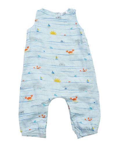Boy's Sea Stripes Sleeveless Romper, Size 3-24 Months