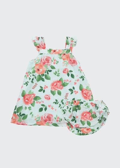 Rose Garden Printed Sun Dress w/ Matching Bloomers, Size 6-24 Months