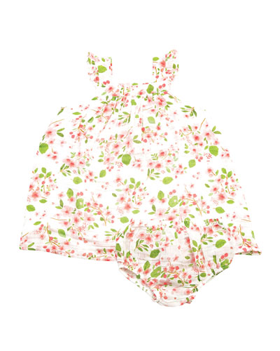 Girl's Cherry Blossom Muslin Sundress w/ Bloomers  Size 6-12 Months