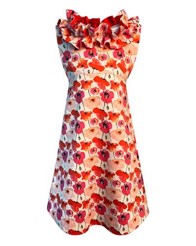 Girl's Floral-Print Ruffle-Trim Dress  Size 4-6